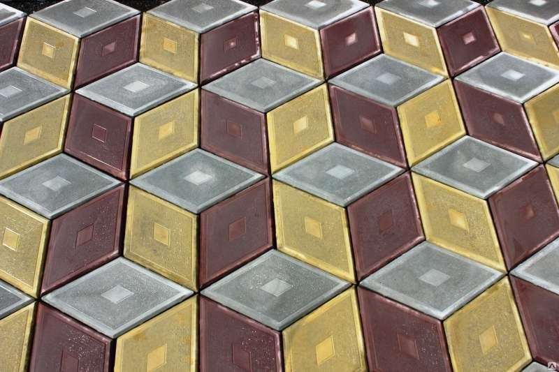 Ромб 3D Серый-Коричневый-Желтый